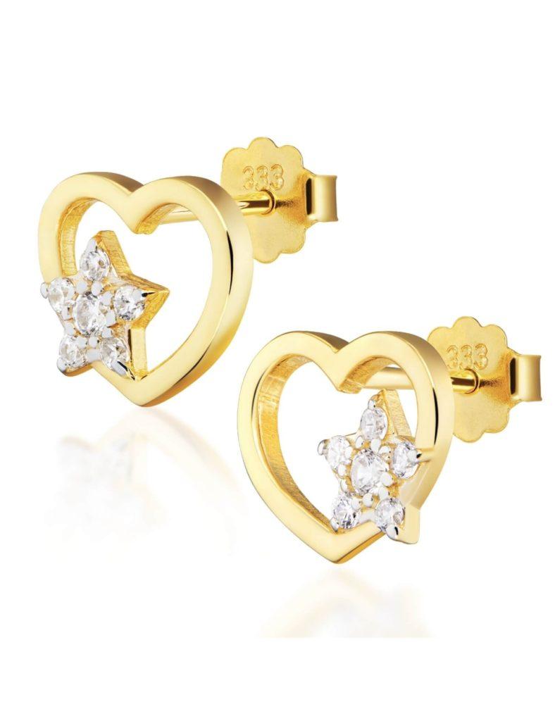 złote kolczyki serca z gwiazdkami