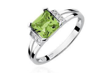 pierścionek zaręczynowy z oliwinem