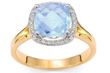 pierścionek zaręczynowy z niebieskim topazem
