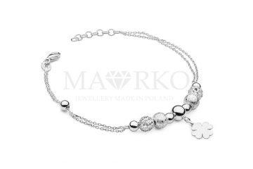 damska bransoletka srebrna z zawieszkami